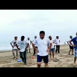 JUHU BEACH DAILY MORNING EXERCISE JOIN FREE AEROBICS FOR EVERYONE BY OUR TEAM OM YOG PITH SURAT YOG